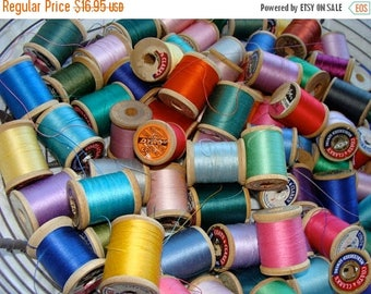 ON SALE One Dozen Beautiful Vintage wooden Thread Spools Lot