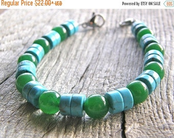20% OFF Turquoise Howlite and Green Malaysian Jade Medical ID Detachable Bracelet, Blue and Green Replacement Bracelet