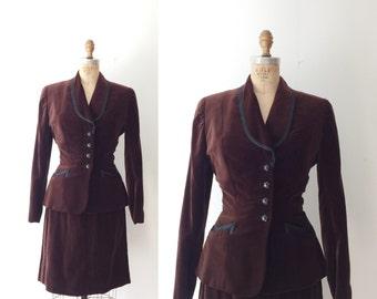 1940s skirt & Jacket / 1940s velvet jacket / Towncliffe  suit