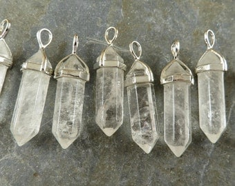 Double Terminated Quartz Crystal Pendant - Natural Quartz Pendant - Quartz Spike Pendant