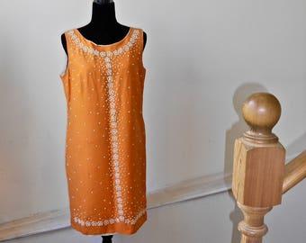 1960s Beaded Orange Shift - MOD Beaded Orange Dress
