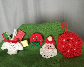 Crochet Ornaments Set of 4 Red White Yarn Christmas Vintage Distressed Handmade Holiday Decor Gift Tag Santa Wreath Basket