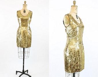 80s Dress Gold Sequins Medium / 1980s Sequin Party Dress / Red Carpet Dress