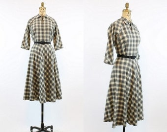 40s Dress Wool Small / 1940s Vintage Dress Plaid Full Skirt / Gay Gibson Dress