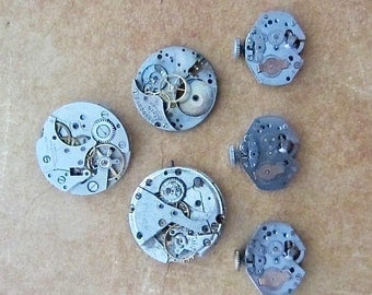 Featured - Steampunk supplies - Watch movements - Vintage Antique Watch movements Steampunk - Scrapbooking L25