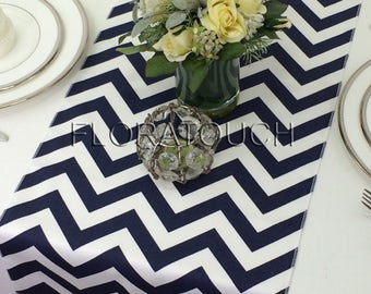 Navy Chevron Table Runner Navy and White Zigzag Wedding Table Runner