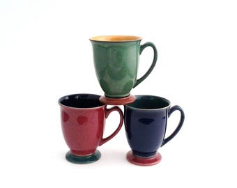 3 Denby Harlequin Red Blue Green Yellow Vintage Footed Mugs England