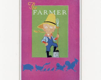 Vintage 1938 Children's Story The Farmer Country Print