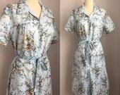 Vintage 1960s NOS Blue Floral Cotton Belted Day Dress Size Large