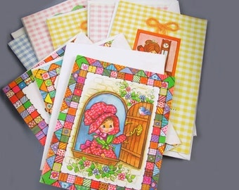 Small lot of 9 charming vintage / 1970s / greeting card / Birthday card / stationary / w envelopes / Susie Ginham / Quality Crest