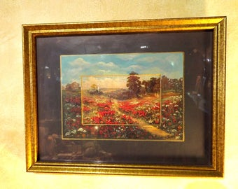 "Antique Post Card Painting London England Original Painting ""Oilfacsim"" Red Poppies and Maiden"