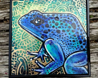 Original Blue Poison Dart Frog Art by Lynnette Shelley