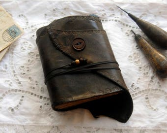 Afterthoughts - Rustic Leather Journal, Dark Brown, Tea-Stained Pages, OOAK