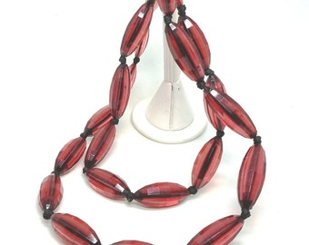 Lucite Vintage Necklace Raspberry Red  Black