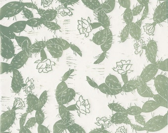 Prickly Pear - Southwest, Linocut Print