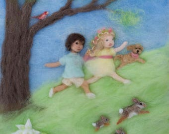 Spring Wool Painting Illustration Giclee Print from Seasons of Joy: Everyday is for Outdoor Play, Signed
