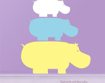 Hippo wall decals, hippo family, vinyl wall sticker, vinyl hippo decal, hippotatmus, baby hippo decal, zoo animal decals, set of 3 hippos