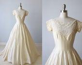 1950s Wedding Dress / Lace Cream Short Sleeves / Modest Wedding Dress / Penelope