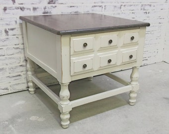 End Table / Nightstand, Distressed White Cottage Style, Stained Top - TB1002 Shabby Farmhouse Chic