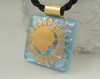 Sun Necklace - Solar - Dichroic Fused Glass Pendant - Fused Glass - Image Pendant - Dichroic Glass - Eclipse X8308