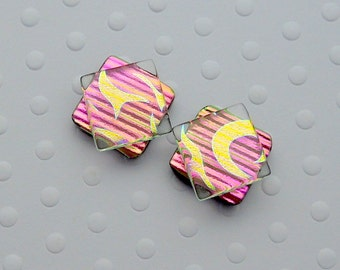 Gold And Pink Earrings, Dichroic Fused Glass Earrings, Hippie Earrings, Post Earrings, Stud Earrings, Dichroic Glass, Bohemian Earrings 1458