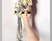 Poudre Bleu....  Floral Fascinator in Blue and Cream With Ribbons Rhinestones Jewels