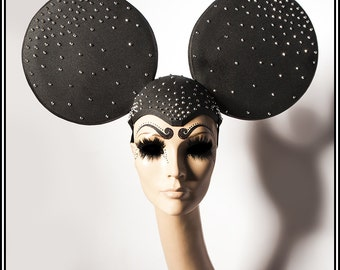 Mad Mouse.. Huge Black Mouse Ears Headdress With Silver Rhinestones