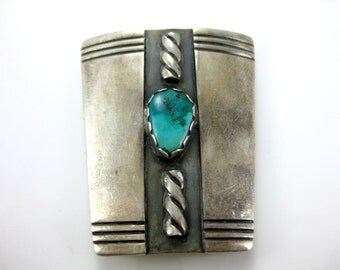 Vintage Sterling Silver Turquoise Bolo Tie