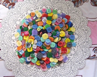 Square Buttons, Candy color buttons, approx 400 Button lot, Colorful buttons, Button supply, Children's clothing, Buttons