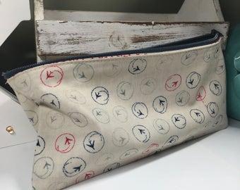 100% Cotton Travel Theme zipper pencil case