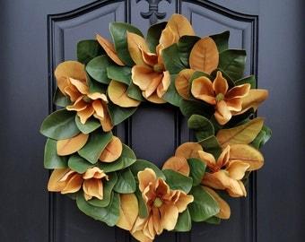 Magnolia Wreath, Magnolias, Magnolia Leaf Wreath, Magnolia Flowers, Year Round Magnolia Wreath, Magnolia Wreath, Fixer Upper Magnolia Wreath