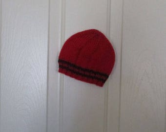 Hand Knitted - Baby Hat in Red with Black Trim