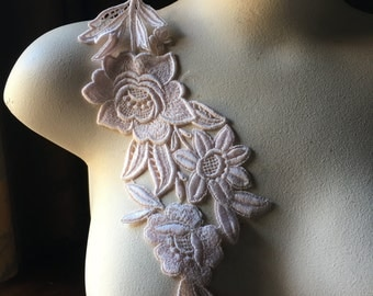Pink Lace Applique with Triple Flowers #2 Venice Lace for Lyrical Dance, Bridal, Costume Design CA
