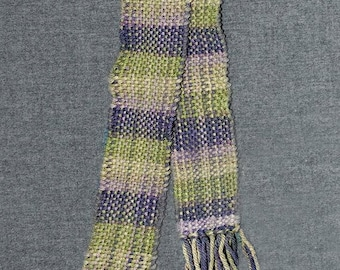 Women's Handwoven Cotton Scarf. Shades of Purples and Greens
