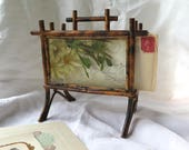 Antique French Letter Holder/Organizer from Provence Faux Bamboo Hand Painted Glass