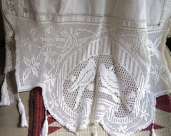 """Antique French Table Runner In Linen and Figurial Lace with Tassels Both Ends 76"""" x 26"""" with Dove Motif"""