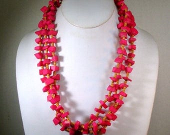 Hot Pink 3 Strands of Nuggets Necklace , Funky Earthy Vintage Ceramic Tribal Chunk Beads w Tiny Tan Wood Spacers, 1970s, Color of Sunset