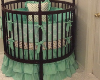 Round Crib Bedding Set Mint and Gold Ruffled