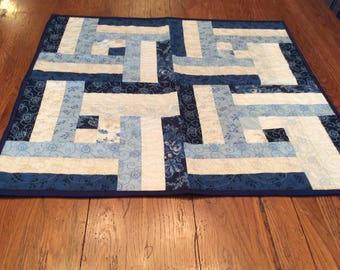 Quilted Table Topper in Blues