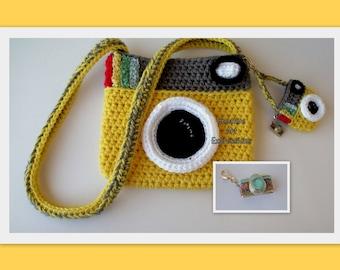 Camera Purse, Yellow, Gray, Camera Bag, Camera Bag Purse, Stylish Camera Bag, Crochet, Fashion Camera Bag, Cute Camera Bag, Handmade, Fabric