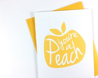 You're A Peach Thank You Card, All Occasion Greeting Card, Thinking Of You Card - Single