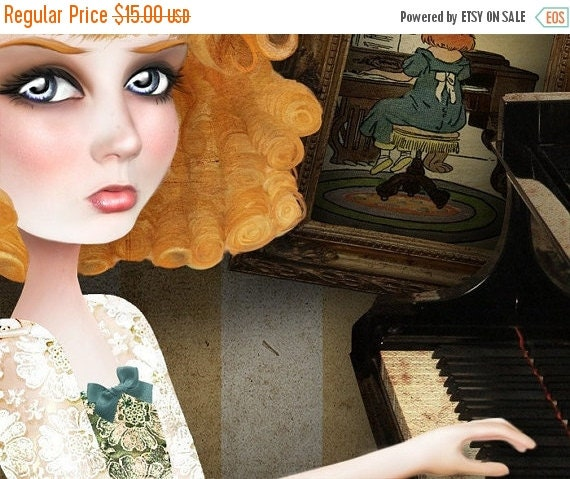"""BIRTHDAY SALE Redhead Lady Playing Piano Print """"Why Dream"""" Fine Art 8.5x11 OR 8x10 Premium Giclee Print of Original Digital collage - Ginger"""