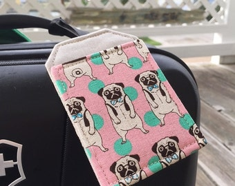 Luggage Tag Set with Pugs, Little Dogs on Pink,  Stroller Tags, Bag Tags