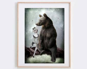 Goldilocks Art Print - Fairytale Print - Bear Art Print - Big Eye Art - Wall Decor