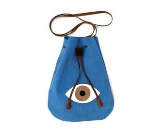 Leather Drawstring Messenger Evil Eye Bag in Blue. Boho Bag. Pouch Leather Bag. Women's Bohemian Bag. Boho Shoulder Bag. - Companier-