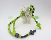 Lego Kids Green And Black Rosary & Chaplet -  Green Lego Rosary First Communion, Baptisim Gift Set