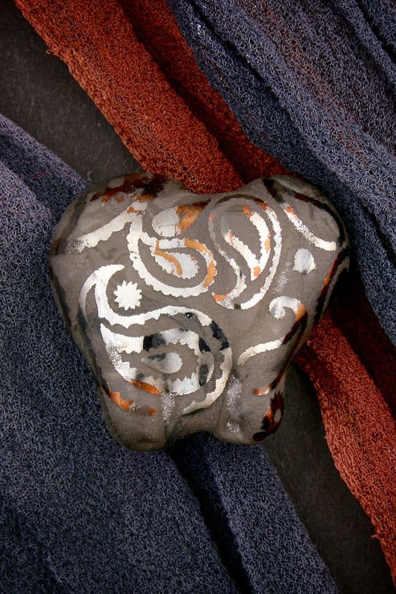 "Lampwork Beads SRA ~ Cute Elephants ""Metallic Paisley"" Sandblasted Glass Lustre Handmade Focal Elephant Bead"