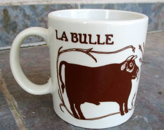 Vintage Taylor and Ng La Bulle Vache Bull Cow Mug Cup in White Brown 1978