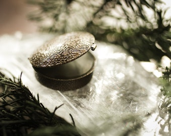 Evergreen Mountain™ - natural solid perfume in brass compact - green, fresh, sage, woods, fir, lavender, spruce - north woods
