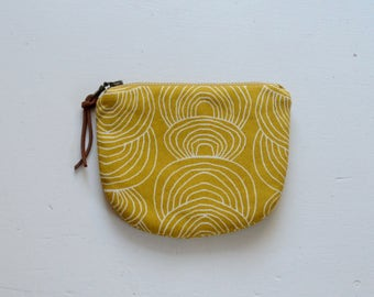 Yellow Ripple Padded Round Zipper Pouch / Coin Purse / Gadget / Cosmetic Bag - READY TO SHIP